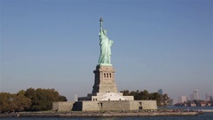 Statue of Liberty New York City Skyline Stock Video Stable Slider from Water Day Stock Footage