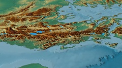 Revolution around Pindus mountain range - masks. Relief map Stock Footage