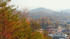 View of Gatlinburg from behind the mountains Stock Footage