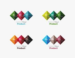 Set of square abstract backgrounds or infographics for content Stock Illustration