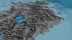 Glide over Pindus mountain range - masks. Elevation map Stock Footage