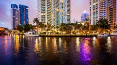 Fort Lauderdale, Florida City Skyline at Night on New River Kuvituskuvat