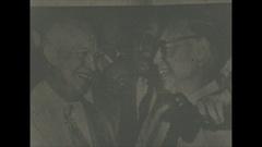 Vintage 16mm film, 1952, London, British newspaper Ike wins Stock Footage