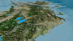 Glide over Pindus mountain range - masks. Satellite imagery Stock Footage