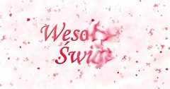 "Merry Christmas text in Polish ""Wesolych Swiat"" formed from dust and turns to Stock Footage"