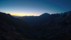 Sunrise in Stelvio Pass in the Alps, timelapse video Stock Footage