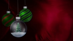 Green Ornaments Red Cloth Merry Christmas 4K Loop Stock Footage