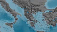 Zoom into Pindus mountain range - masks. Elevation map Stock Footage