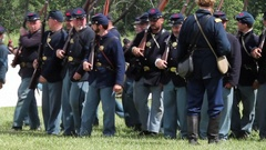 Battle of Gettysburg - Union Soldiers line up for inspection Stock Footage