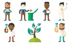 Vector set of characters on ecology issues Stock Illustration