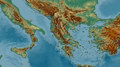 Zoom into Pindus mountain range - masks. Relief map Stock Footage