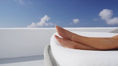 Feet and legs close up of beautiful woman in relaxing and vacation concept Stock Footage