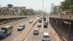 City car traffic in Hanoi Stock Footage