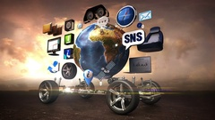Disassembled car, Car infotainment, network. social media service. sunset. Stock Footage