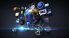Disassembled car, Car infotainment, network. social media service. alpha. Stock Footage
