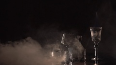 Ice cubes, flame and streams of smoke Stock Footage