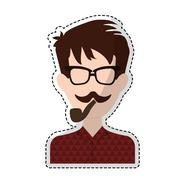 Hipster man icon image Stock Illustration