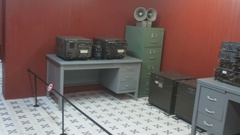 The communication device, the information in the museum Stock Footage