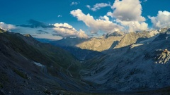 Timelapse of dusk in Stelvio Pass in the Alps Stock Footage