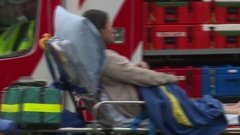 Terror attack victim on stretcher Stock Footage