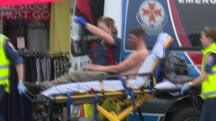 Terror attack hero with first responders Stock Footage