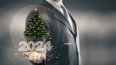 2024 Christmas tree Businessman Holding in Hand New technologies Stock Footage