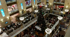 New year's interior in a shopping center, Central Children's Store on Lubyanka Stock Footage