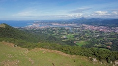 Aerial above mountains in Hondarriba, border France Spain, Basque Country Stock Footage