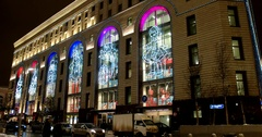 Huge luminous figures on facade of Central Children's Store, new year in Moscow Stock Footage