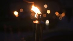 SLO MO CU Flaming torch Stock Footage