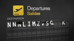 Departures Flip Sign: Phrases Stock Footage
