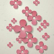 Lovely paper flowers cut-out background Stock Illustration