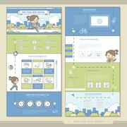 Energetic one page website design template Stock Illustration