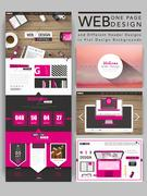 Cozy one page website template design Stock Illustration