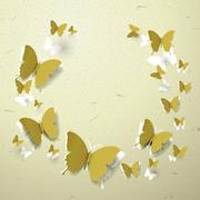 Elegant paper butterflies cut-out background Stock Illustration