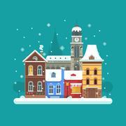 Winter City Background Stock Illustration