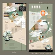 Adorable one page website template design Stock Illustration