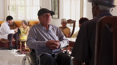 Elderly Disabled People On Wheelchair In Hospital For Seniors Stock Footage