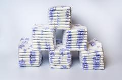 Pile of disposable diapers arranged in a pyramid Stock Photos