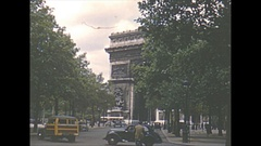 Vintage 16mm film, 1952, France, Paris, traffic, Arc de Triomphe, posters and... Stock Footage