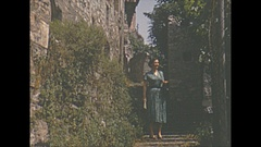 Vintage 16mm film, 1952, Switzerland, Gandria Lugano b-roll, people and steps Stock Footage