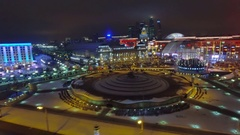 Moscow aerial Christmas New Year time night cityscape, Square of Europe. Stock Footage
