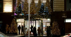 The main entrance to the Central Children's Store, new year in Moscow Stock Footage