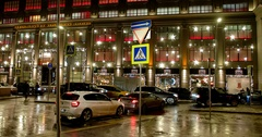 "Cars, building of Central Department store ""TSUM"", new year in Moscow Stock Footage"