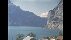 Vintage 16mm film, 1952, Switzerland, lake Lucerne, sequence, b-roll Stock Footage