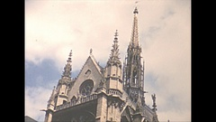 Vintage 16mm film, 1952, France, Paris, big church exterior and interior Stock Footage