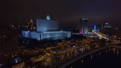 Moscow aerial Christmas New Year time night cityscape, river, White House. Arkistovideo