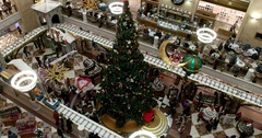 Giant Christmas tree in shopping Mall, Central Children's Store on Lubyanka Stock Footage