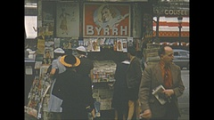 Vintage 16mm film, 1952, France, Paris, news stand, wonderful variety Stock Footage
