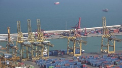 4K Aerial view busy platform with container crane machine work industrial port Stock Footage